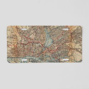 Vintage Hamburg Railway Map Aluminum License Plate