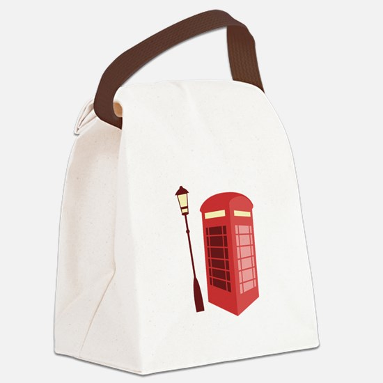 Red Phone Booth Canvas Lunch Bag