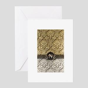 Damask 2 Gold Platinum Monogram Greeting Cards