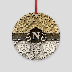Damask 2 Gold Platinum Monogram Ornament (Round)