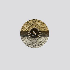 Damask 2 Gold Platinum Monogram Mini Button
