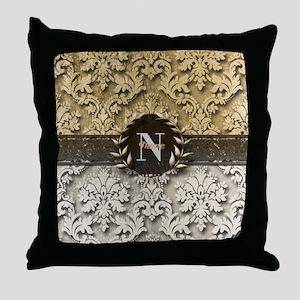 Damask 2 Gold Platinum Monogram Throw Pillow