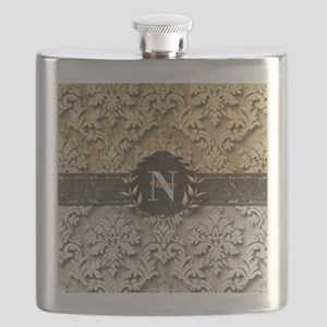 Damask 2 Gold Platinum Monogram Flask