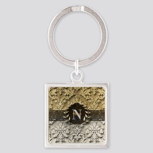 Damask 2 Gold Platinum Monogram Keychains