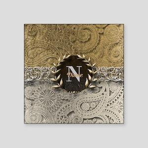 Paisley Sq Gold Platinum Monogram Sticker