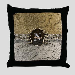 Paisley Sq Gold Platinum Monogram Throw Pillow