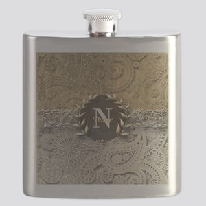 Paisley Sq Gold Platinum Monogram Flask