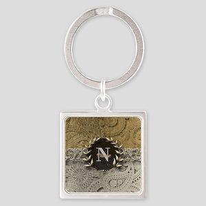 Paisley Sq Gold Platinum Monogram Keychains