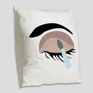 Eye Makeup Burlap Throw Pillow
