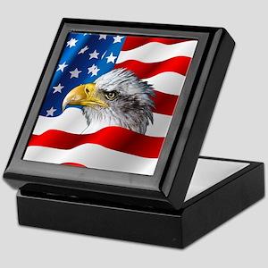 Bald Eagle On American Flag Keepsake Box