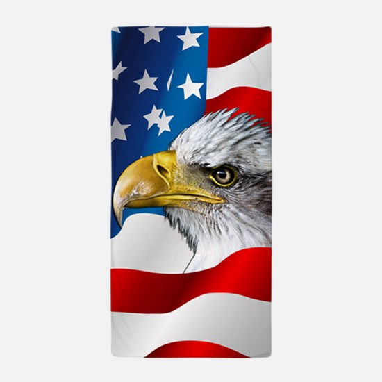 Bald Eagle On American Flag Beach Towel