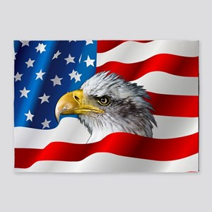 Bald Eagle On American Flag 5'x7'Area Rug