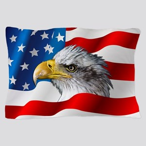 Bald Eagle On American Flag Pillow Case