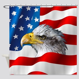 Bald Eagle On American Flag Shower Curtain