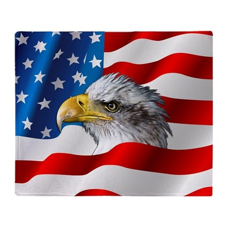 Bald Eagle On American Flag Throw Blanket By WickedDesigns4
