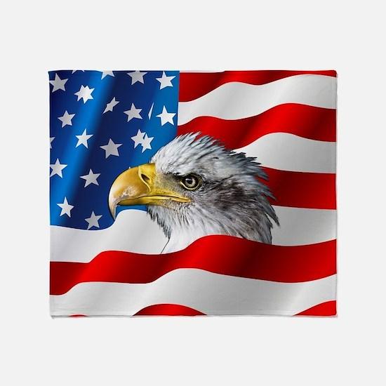 Bald Eagle On American Flag Throw Blanket