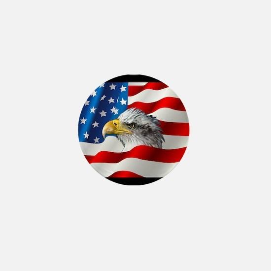 Bald Eagle On American Flag Mini Button