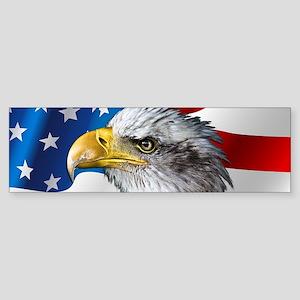 Bald Eagle On American Flag Bumper Sticker