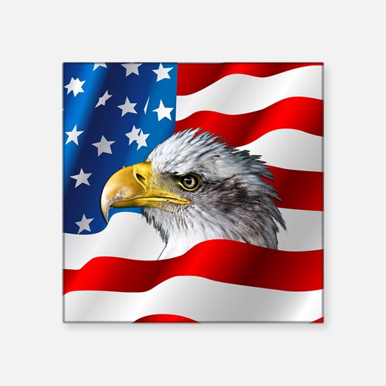 Bald Eagle On American Flag Sticker