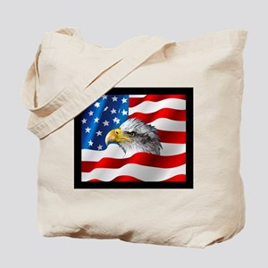 Bald Eagle On American Flag Tote Bag