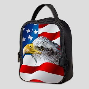 Bald Eagle On American Flag Neoprene Lunch Bag