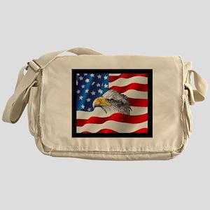 Bald Eagle On American Flag Messenger Bag