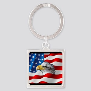 Bald Eagle On American Flag Keychains