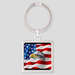 Bald Eagle On American Flag Keychains