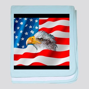 Bald Eagle On American Flag baby blanket