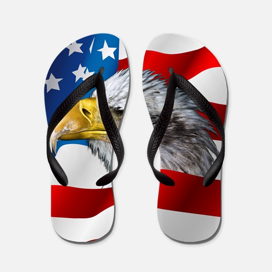 Bald Eagle On American Flag Flip Flops