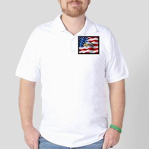 Bald Eagle On American Flag Golf Shirt