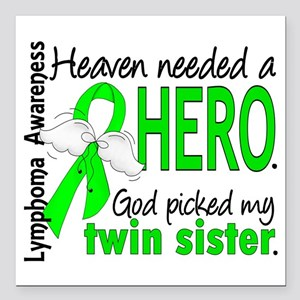 "Lymphoma Heaven Needed H Square Car Magnet 3"" x 3"""