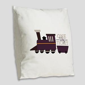 One Way Ticket Burlap Throw Pillow