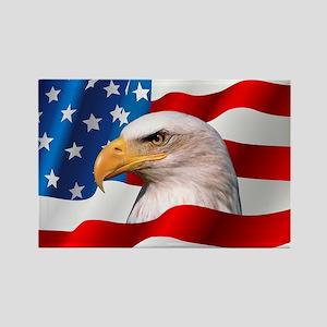 Bald Eagle On American Flag Rectangle Magnet