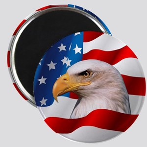 Bald Eagle On American Flag Magnet