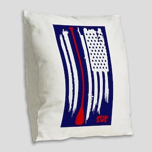 Stand Up Paddling US Flag Burlap Throw Pillow