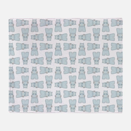 BABY BLUE HIPPOS Throw Blanket