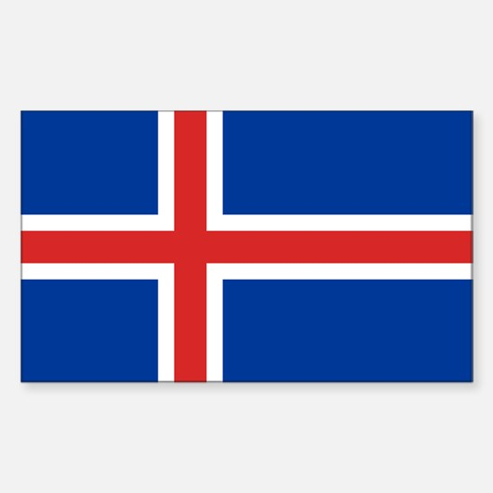 Iceland Flag Sticker (rectangle)