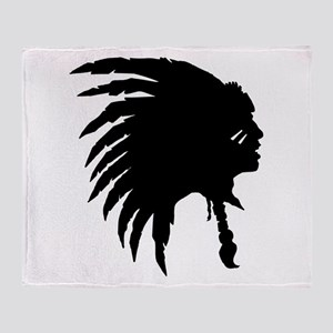 Native American Silhouette Throw Blanket