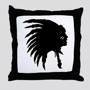 Native American Silhouette Throw Pillow