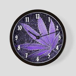 Purple Cannabis Leaf Wall Clock