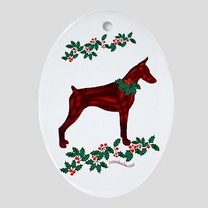 Dobe & Holly Oval Ornament