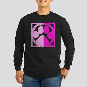 Pink Paw Print Long Sleeve Dark T-Shirt