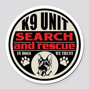 K9 Unit Search and Rescue Round Car Magnet