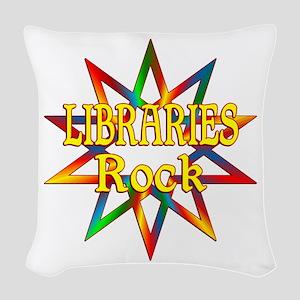 Libraries Rock Woven Throw Pillow