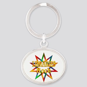 Libraries Rock Oval Keychain
