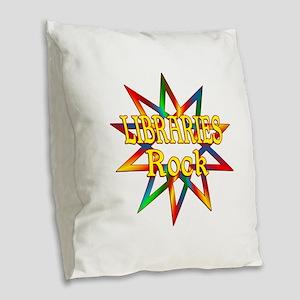 Libraries Rock Burlap Throw Pillow