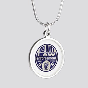 K9 In Dogs We Trust Blue Silver Round Necklace