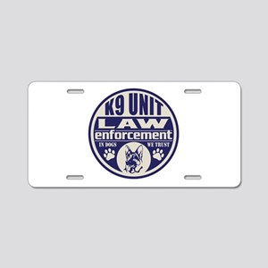 K9 In Dogs We Trust Blue Aluminum License Plate