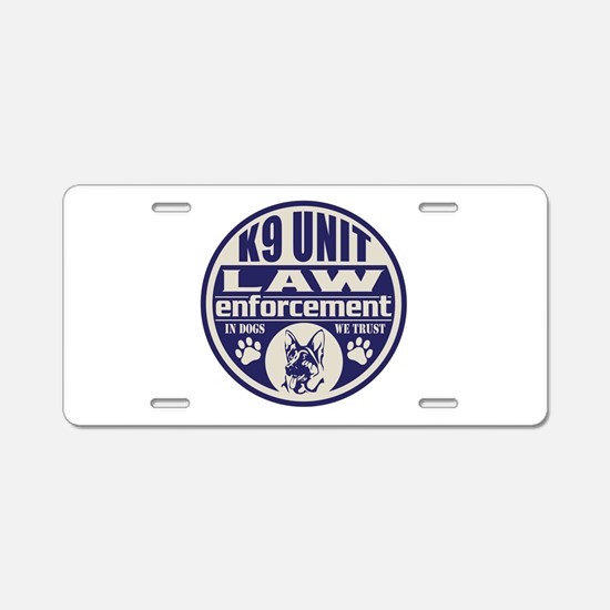 K9 In Dogs We Trust Blue Aluminum License Plate